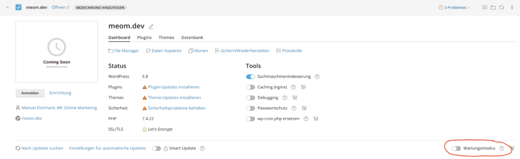 Wordpress in Maintenance Mode