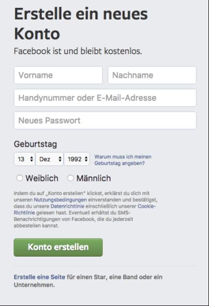 Kontoerstellung bei Facebook