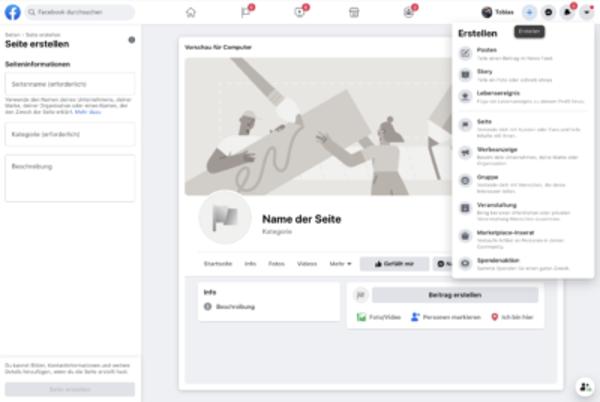 Erstellen einer Facebook Unternehmensseite