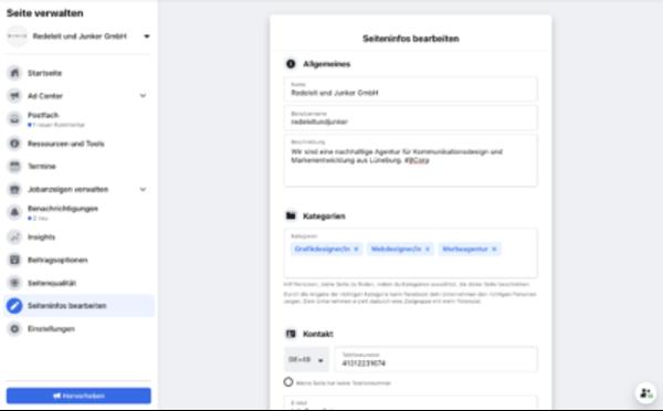 Facebook Seiten Informationen bearbeiten